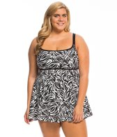 Longitude Plus Size Tribal Quest Empire Princess Swim Dress