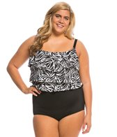 Longitude Plus Size Tribal Quest Triple Tier Tank Blouson One Piece Swimsuit