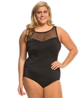 Longitude Plus Size Colorblock Mesh Highneck One Piece Swimsuit