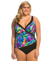 Longitude Plus Size Wipe Out Spliced Surplice One Piece Swimsuit
