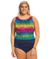 Longitude Plus Size Acapulco Highneck One Piece Swimsuit