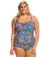 Longitude Plus Size Star Quality Shirred Lingerie Tank One Piece Swimsuit