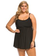 Longitude Plus Size Embellished Pleated Swim Dress