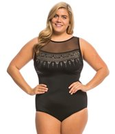 Longitude Plus Size Embellished Mesh Highneck One Piece Swimsuit