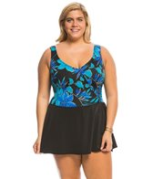 Longitude Plus Size Samurai Mock Surplice Swim Dress