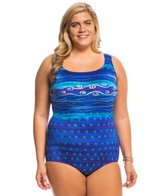 Longitude Plus Size Ocean Swirls Crossback Tank One Piece Swimsuit