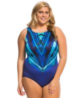Longitude Plus Size Space Odyssey Highneck One Piece Swimsuit