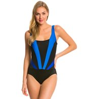 Longitude Colorblock Faux Plunge Tank One Piece Swimsuit