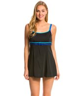 Longitude Colorblock Double Bow Empire Swim Dress