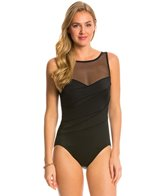 Longitude Colorblock Mesh Highneck One Piece Swimsuit