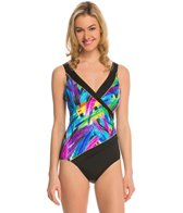 Longitude Wipe Out Spliced Surplice One Piece Swimsuit