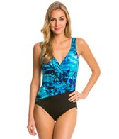 Longitude Jungle Shadows Pleated Surplice One Piece Swimsuit