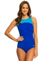 Speedo Color Block High Neck One Piece Swimsuit