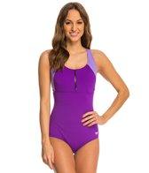 Speedo Zip Front Touchback One Piece Swimsuit