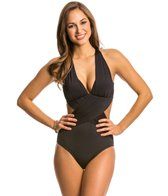 Kenneth Cole Shirr Thing Cut Out One Piece Swimsuit