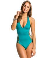 Kenneth Cole Shirr Thing Halter Cut Out One Piece Swimsuit