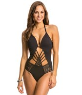 Kenneth Cole Swimwear Sheer Satisfaction Push Up One Piece Swimsuit