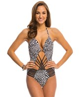 Kenneth Cole Got the Beat Cut Out Push Up Halter One Piece Swimsuit
