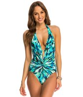 Kenneth Cole Floral Explosion Twist Plunge One Piece Swimsuit