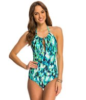 Kenneth Cole Floral Explosion High Neck One Piece Swimsuit