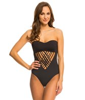 Kenneth Cole Strappy Hour Bandeau Cut Out One Piece Swimsuit