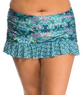 Kenneth Cole Plus Size Scarfs on Deck Rouched Swim Skirt