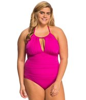 Kenneth Cole Plus Size The Ruffle Shuffle High Neck One Piece Swimsuit