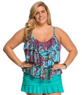 Kenneth Cole Plus Size Bohemian Babe Tripe Tier Tankini Top