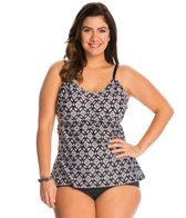 24th & Ocean Plus Size Tribal Nights A-D Adjustable Side Tankini Top