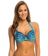 Kenneth Cole Reaction Scarfs on Deck Underwire Halter Bikini Top (D-Cup)