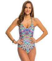 Kenneth Cole Reaction Hot to Trot V-Neck One Piece Swimsuit