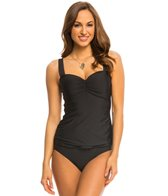 Athena Swimwear Cabana Solids Underwire Bandeau Tankini Top (D Cup)