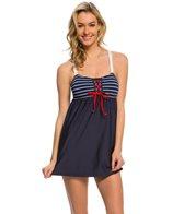 Nautica Classic Stripe Tie Front Swimdress