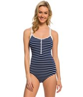 Nautica Swimwear Classic Stripe Zip Front One Piece Swimsuit