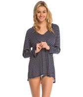 Nautica Swimwear Classic Strip L/S Hooded Cover Up Tunic
