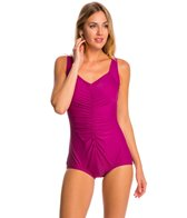 Maxine Tricot Solid Shirred Front Girl Leg One Piece Swimsuit