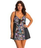 Fit4U Swimwear Plus Size Cabana Blocked Vintage Tie Front Swim Dress