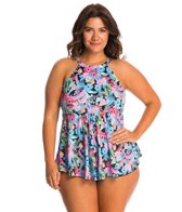 Fit4U Swimwear Plus Size Origami Micro Hi Neck Flared Tankini Top