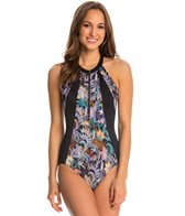 Fit4U Swimwear Cabana Hi Neck Tank One Piece Swimsuit