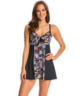 Fit4U Swimwear Cabana Blocked Vintage Tie Front Swim Dress