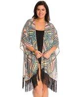 Jessica Simpson Plus Swimwear Plus Size Venice Beach Fringe Chiffon Kimono