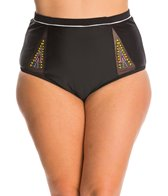 Jessica Simpson Plus Swimwear Plus Size Wild Thing Embroidery High Waist Bikini Bottom