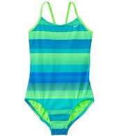Nike Swimwear Girls' Optic Shift V-Back Tank One Piece Swimsuit (7yrs-14yrs)