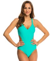 Jessica Simpson Swimwear Flower Power Crochet Back Cut Out One Piece Swimsuit