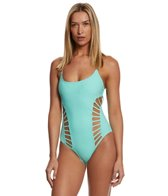 Red Carter Splice & Dice Cut Out Strappy One Piece Swimsuit