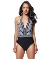 Red Carter Medallion Plunge Halter One Piece Swimsuit