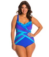 Gottex Plus Size Pixel Ombre Square Neck One Piece Swimsuit
