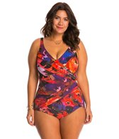 Gottex Plus Size Garden of Eden Surplice One Piece Swimsuit