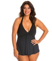 Gottex Plus Size Lattice Flyaway Halter Tankini Top