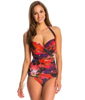 Gottex Garden of Eden Molded Underwire Halter One Piece Swimsuit